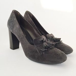 Tod's Gray Suede Brogue Tassled Loafer Pumps 8.5